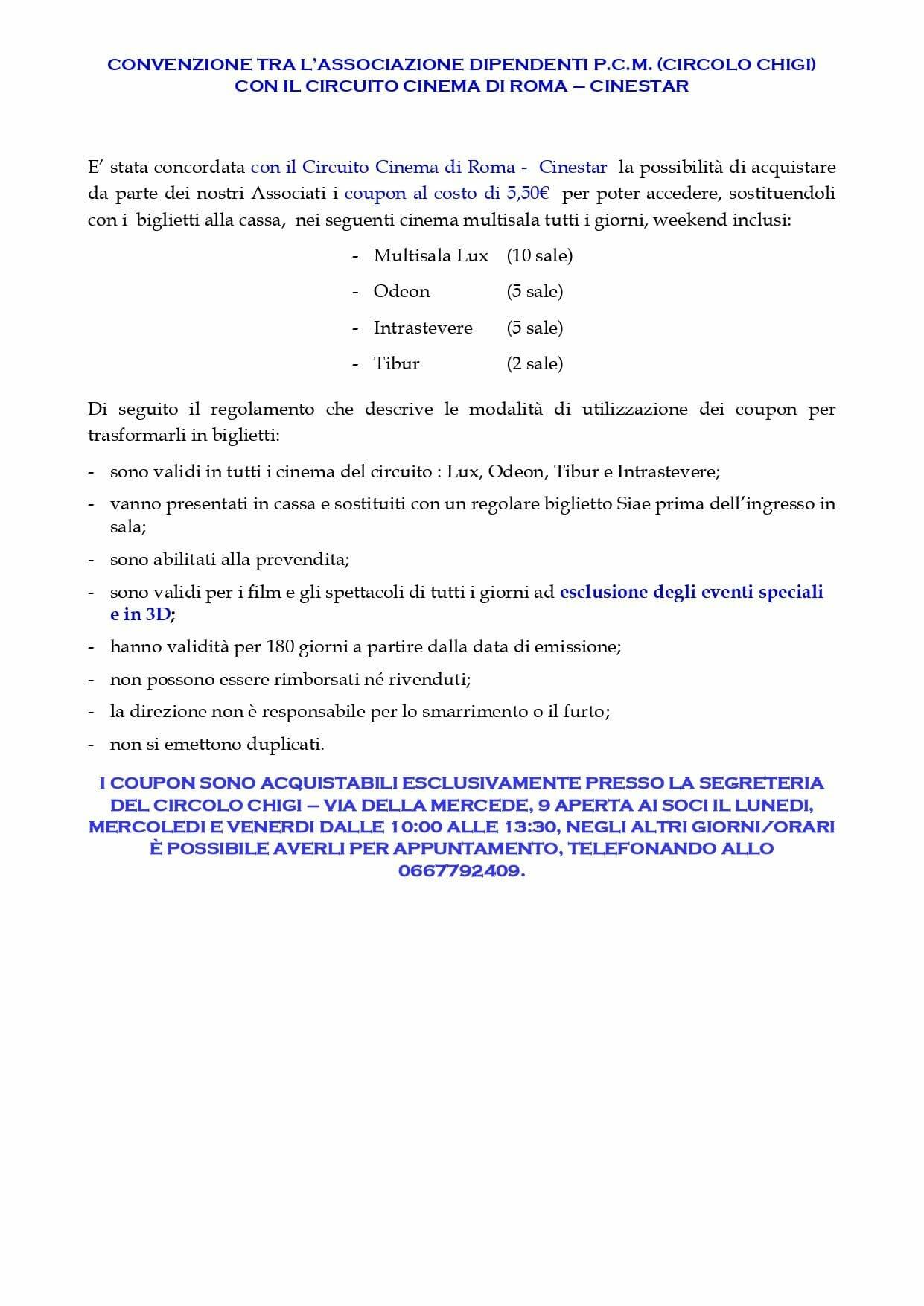 CIRCUITO CINEMA DI ROMA – CINESTAR