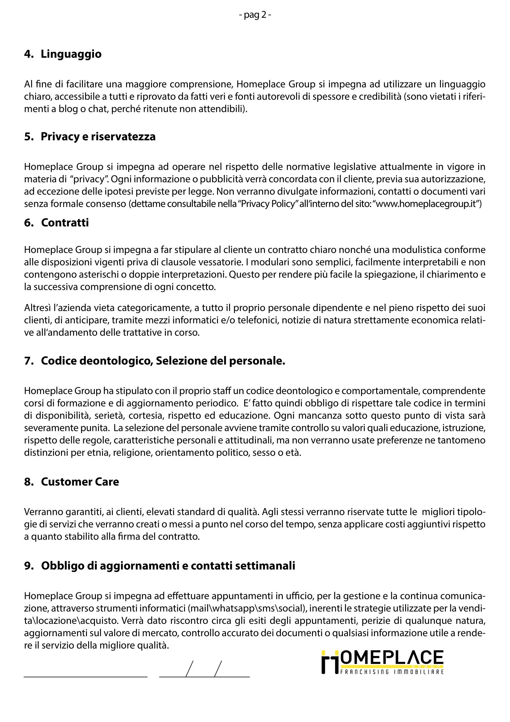 codice etico homeplacegroup circolo chigi